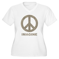 Vintage Imagine Peace Women's Plus Size V-Neck T-Shirt