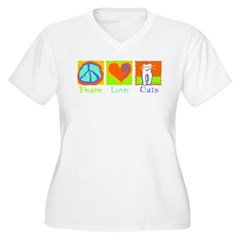 Peace Love Cats Women's Plus Size V-Neck T-Shirt