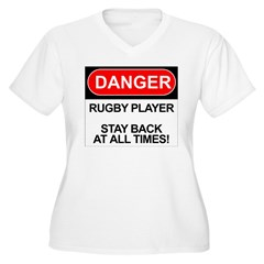 """Danger Rugby Player"" Women's Plus Size V-Neck T-Shirt"