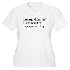 Keming Women's Plus Size V-Neck T-Shirt