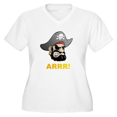 Arr Pirate Women's Plus Size V-Neck T-Shirt