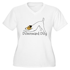 Downward Dog Jack Russell Women's Plus Size V-Neck T-Shirt