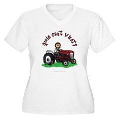Light Red Farmer Women's Plus Size V-Neck T-Shirt