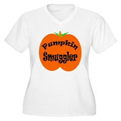 Pumpkin Smuggler Women's Plus Size V-Neck T-Shirt