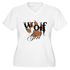 Wolf Girl Women's Plus Size V-Neck T-Shirt