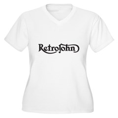 RetroJohn logo 10x10_apparel-drk Women's Plus Size V-Neck T-Shirt