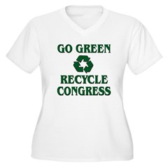 Go Green - Recycle Congress Women's Plus Size V-Neck T-Shirt