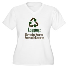 Logging: Renewable Resource Women's Plus Size V-Neck T-Shirt