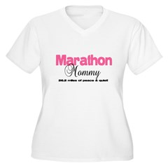 Marathon Mommy Peace Quie Women's Plus Size V-Neck T-Shirt