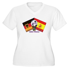 Germany vs. Spain 2010 Soccer Women's Plus Size V-Neck T-Shirt