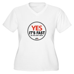 Yes It's Fas Women's Plus Size V-Neck T-Shirt