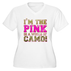pink Women's Plus Size V-Neck T-Shirt