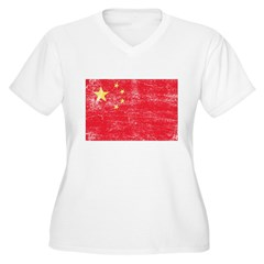 China Flag Women's Plus Size V-Neck T-Shirt