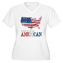 Proud to be an American Women's Plus Size V-Neck T-Shirt
