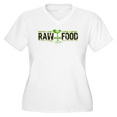 RawFood_DARK_Background Women's Plus Size V-Neck T-Shirt