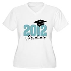 2012 graduate color aqua Women's Plus Size V-Neck T-Shirt