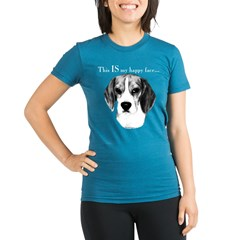 Beagle Happy Face Organic Women's Fitted T-Shirt (dark)
