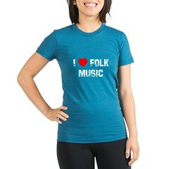 I * Folk Music Organic Women's Fitted T-Shirt (dark)