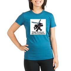 Black Ninja Monkey Overhead w Organic Women's Fitted T-Shirt (dark)