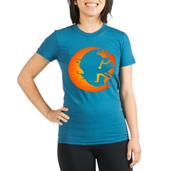 Kokopelli & Moon Organic Women's Fitted T-Shirt (dark)