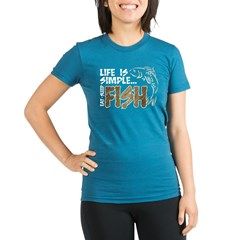 Life Is Simple...FISH Organic Women's Fitted T-Shirt (dark)