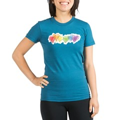 Watercolor Rainbow Hearts Organic Women's Fitted T-Shirt (dark)