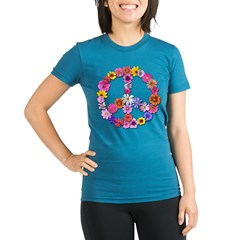 Peace Flowers Organic Women's Fitted T-Shirt (dark)