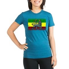 Grunge Rastafarian Flag Organic Women's Fitted T-Shirt (dark)