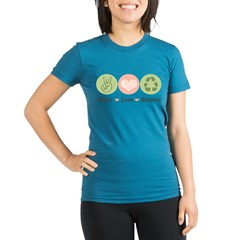 Recycling Peace Love Recycle Organic Women's Fitted T-Shirt (dark)