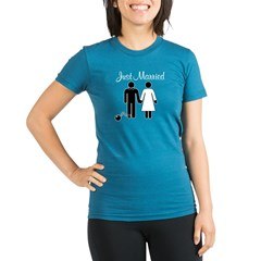 Just Married Organic Women's Fitted T-Shirt (dark)
