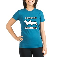 I have two wieners Organic Women's Fitted T-Shirt (dark)