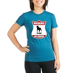 Pit Bull On Guard Organic Women's Fitted T-Shirt (dark)