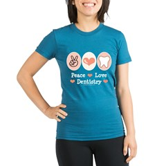 Peace Love Dentistry Dentist Organic Women's Fitted T-Shirt (dark)