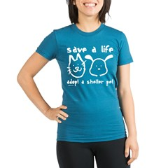 Save a Life - Adopt a Shelter Pe Organic Women's Fitted T-Shirt (dark)