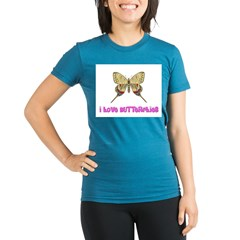 I Love Butterflies Organic Women's Fitted T-Shirt (dark)