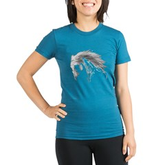 Horse Organic Women's Fitted T-Shirt (dark)