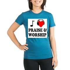 I HEART PRAISE AND WORSHIP Organic Women's Fitted T-Shirt (dark)