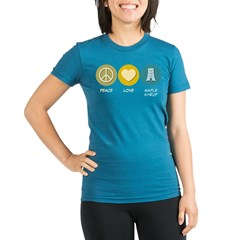 Peace Love Maple Syrup Organic Women's Fitted T-Shirt (dark)