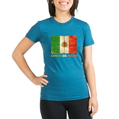 Vintage Cinco De Mayo with Flag Organic Women's Fitted T-Shirt (dark)