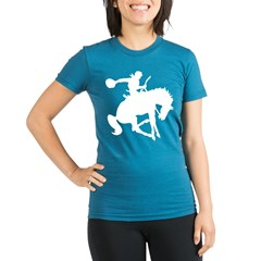 Bucking Bronc Cowboy Organic Women's Fitted T-Shirt (dark)