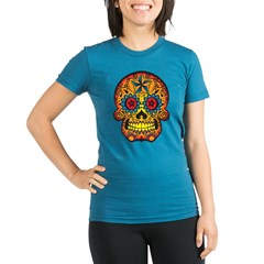 Skull Organic Women's Fitted T-Shirt (dark)