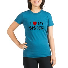 I LOVE MY SISTER I HEART MY S Organic Women's Fitted T-Shirt (dark)
