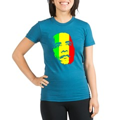 Obama Green Gold Red Face Organic Women's Fitted T-Shirt (dark)