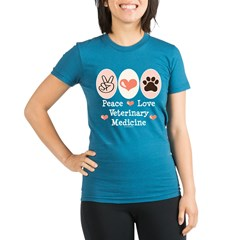 Peace Love Veterinary Medicine Organic Women's Fitted T-Shirt (dark)