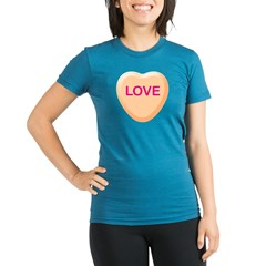 LOVE Orange Candy Heart Organic Women's Fitted T-Shirt (dark)