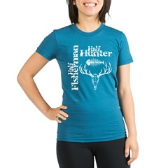 Half Fisherman. Half Hunter. Organic Women's Fitted T-Shirt (dark)