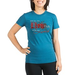 Lion Fell for the Lamb Organic Women's Fitted T-Shirt (dark)