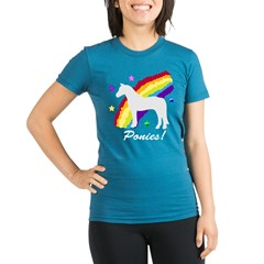 Rainbow Ponies! Organic Women's Fitted T-Shirt (dark)