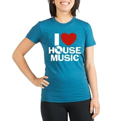 I Love House Music Organic Women's Fitted T-Shirt (dark)