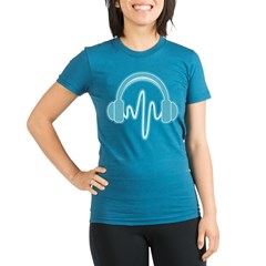 Blue Headphones Maternity Tee (Dark) Organic Women's Fitted T-Shirt (dark)